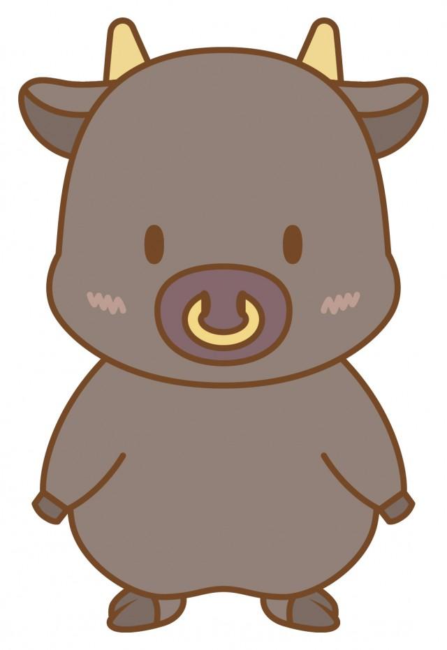 黒牛さん(丑、うし、正月、干支、年賀状、ビーフ) | 無料イラスト素材|素材ラボ