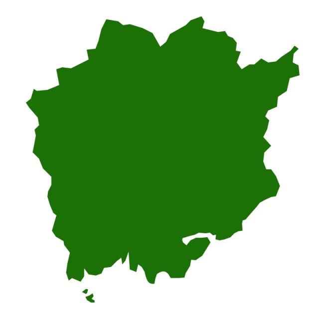 岡山県のシルエットで作った地図イラスト(緑塗り)