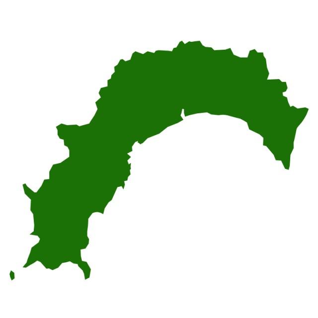 無料イラスト素材:高知県のシルエットで作った地図イラスト(…