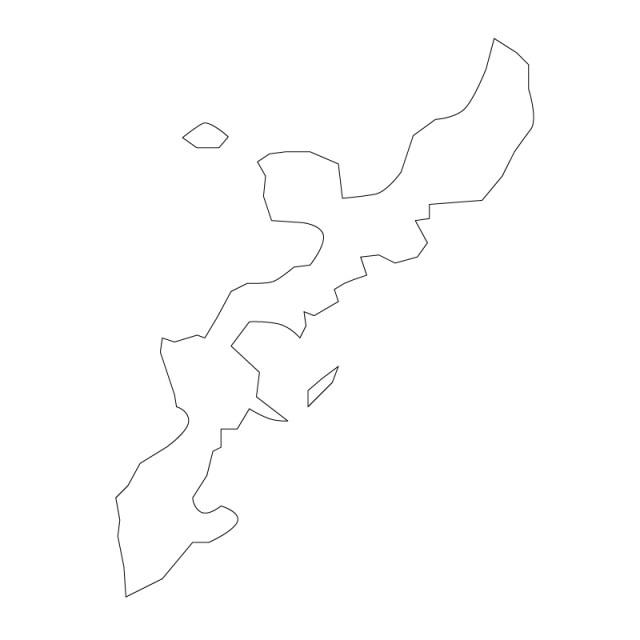 沖縄県のシルエットで作った地図イラスト黒線 無料イラスト素材