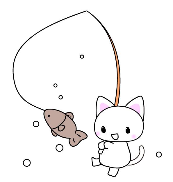 魚を釣る猫のイラスト素材 無料イラスト素材素材ラボ