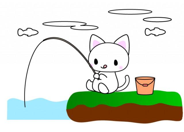 魚釣り猫ちゃんのイラスト素材 無料イラスト素材素材ラボ