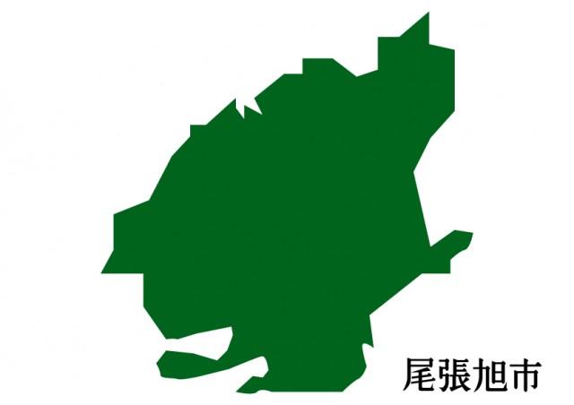 愛知県尾張旭市おわりあさひしの地図緑塗り 無料イラスト素材