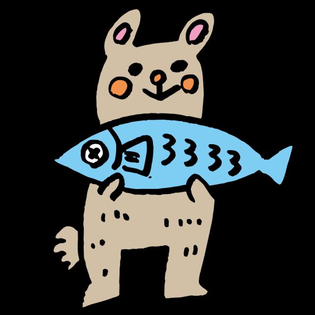 クマと鮭 無料イラスト素材 素材ラボ