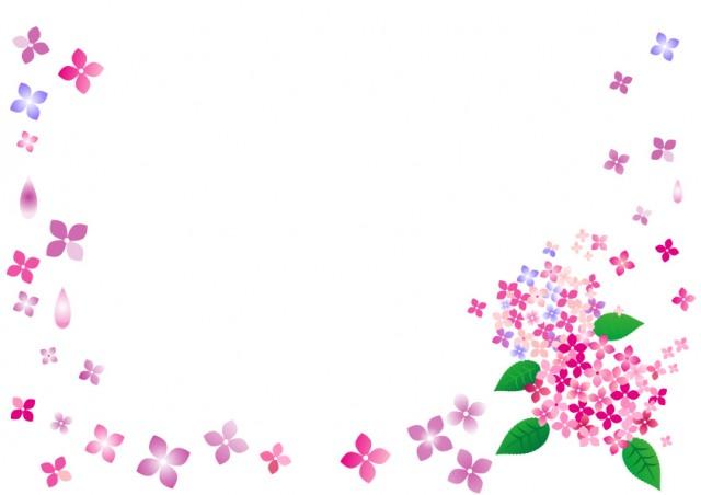 紫陽花の花フレーム 無料イラスト素材素材ラボ