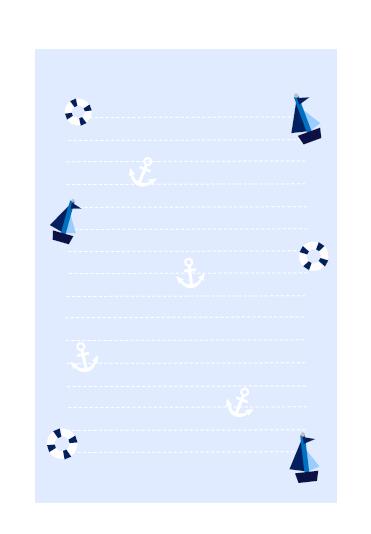 マリン柄2ブルー便箋テンプレート 無料イラスト素材素材ラボ