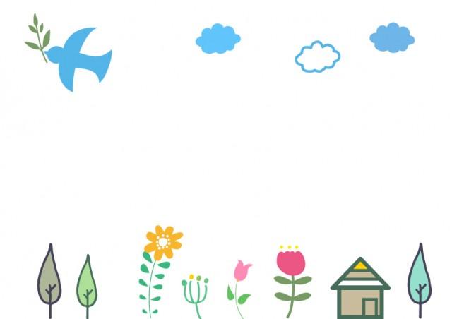 かわいい家や木のフレーム 無料イラスト素材 素材ラボ