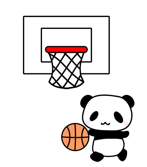 バスケットボールをしているパンダイラスト 無料イラスト素材素材ラボ