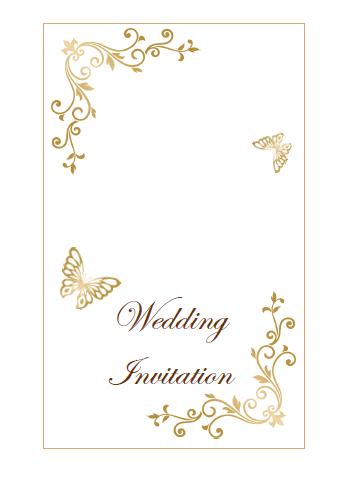 アンティークチョウチョ柄結婚式招待状表紙テンプレート 無料