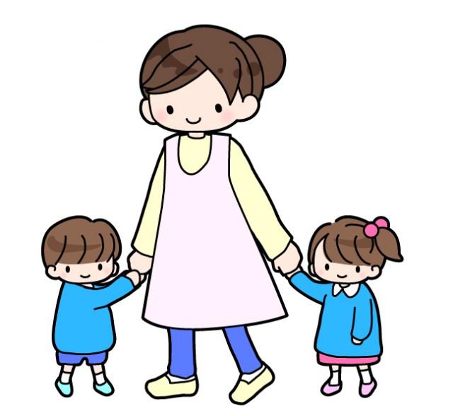 幼稚園の先生と幼稚園児のイラスト 無料イラスト素材素材ラボ