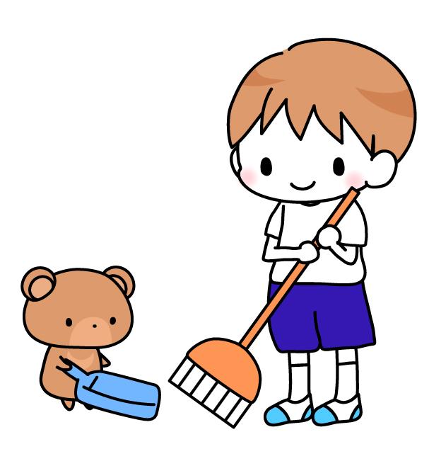 掃除をするくまと男の子イラスト素材 無料イラスト素材素材ラボ