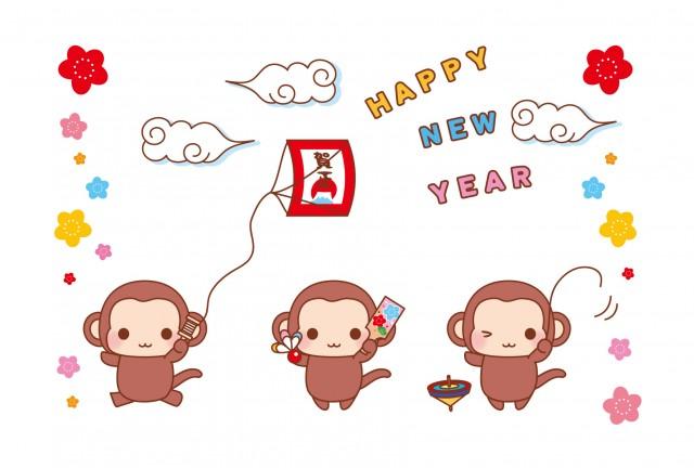正月遊びをする猿の年賀状 無料イラスト素材素材ラボ