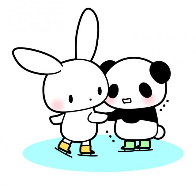 うさぎとパンダ仲良くスケート 無料イラスト素材素材ラボ