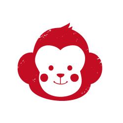 猿のハンコ風イラスト 年賀状 無料イラスト素材素材ラボ