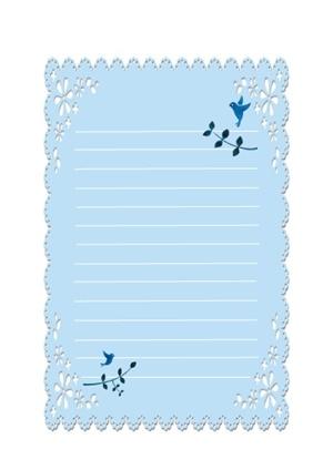 青い鳥の便箋のテンプレート 無料イラスト素材素材ラボ