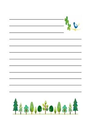 並んだ木と鳥の便箋のテンプレート 無料イラスト素材素材ラボ