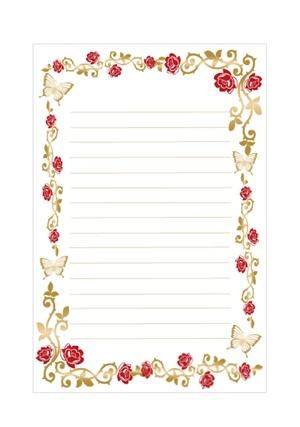 薔薇とチョウの便箋テンプレート 無料イラスト素材素材ラボ