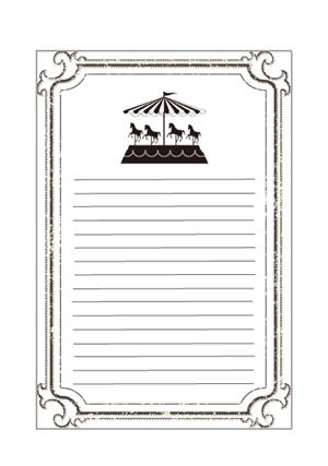 アンティークメリーゴーランド柄便箋テンプレート 無料イラスト素材