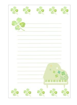 クローバーとピアノの便箋のテンプレート 無料イラスト素材素材ラボ