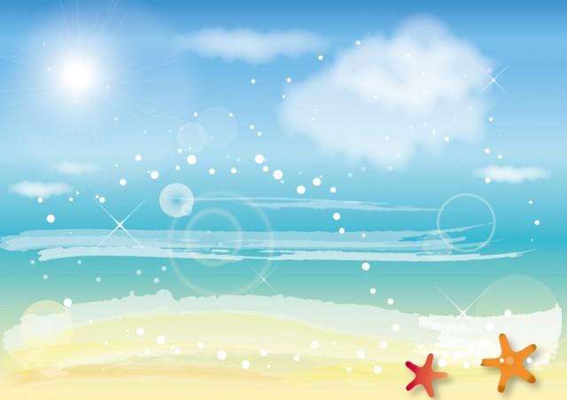 夏空と海の背景 無料イラスト素材素材ラボ